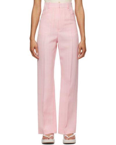 Różowe spodnie z paskiem z jedwabiu Jacquemus
