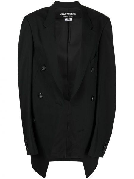 Шерстяной однобортный черный удлиненный пиджак Junya Watanabe