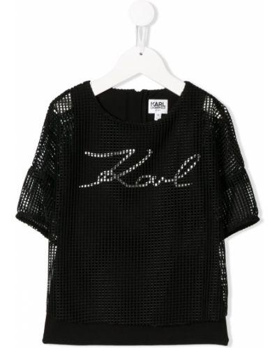 Хлопковая прямая черная футболка на молнии Karl Lagerfeld Kids