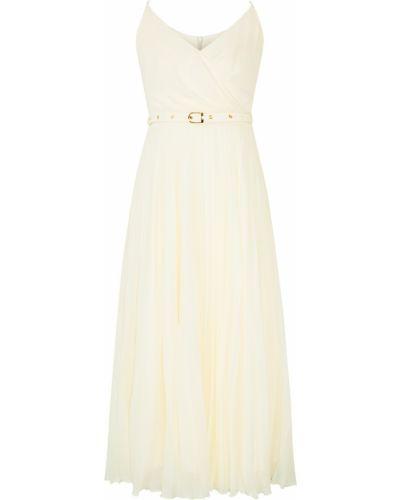Бежевое платье миди с поясом на молнии Laroom