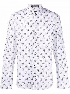 Czarna biała koszula bawełniana z długimi rękawami Philipp Plein