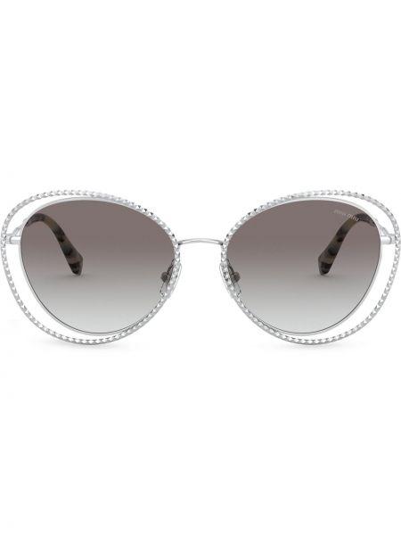 Солнцезащитные очки металлические хаки Miu Miu Eyewear
