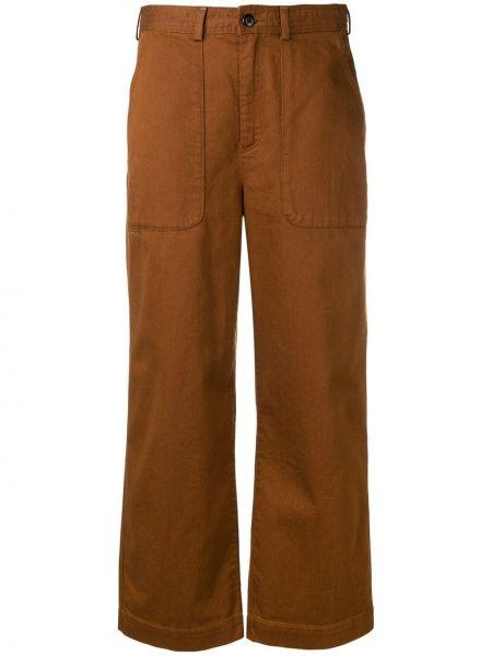 Хлопковые коричневые укороченные брюки с карманами на пуговицах Bellerose