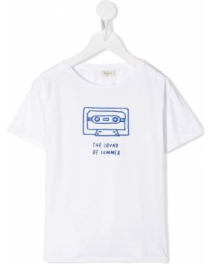 Хлопковая белая футболка с короткими рукавами с круглым вырезом Buho