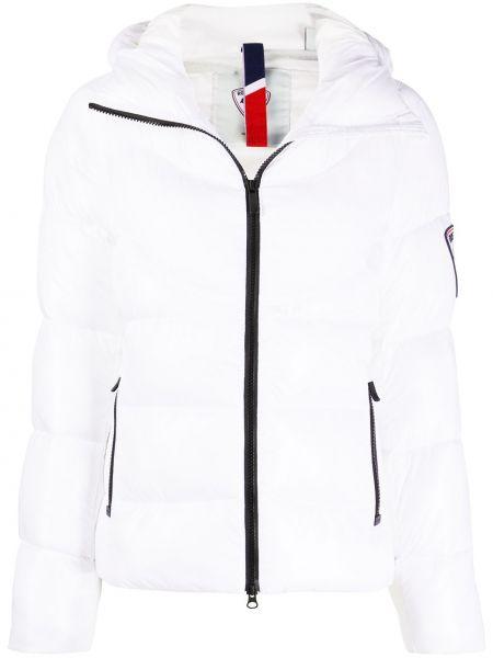 Белая классическая стеганая куртка с нашивками на молнии Rossignol