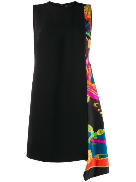 Черное платье без рукавов с вырезом на молнии Versace