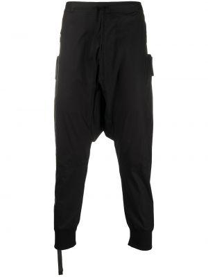 Хлопковые черные укороченные брюки с заниженным шаговым швом Unravel Project
