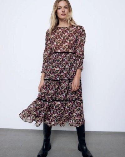 Бархатное платье с длинными рукавами с круглым вырезом Zara