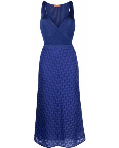 Трикотажное синее платье миди с запахом Missoni