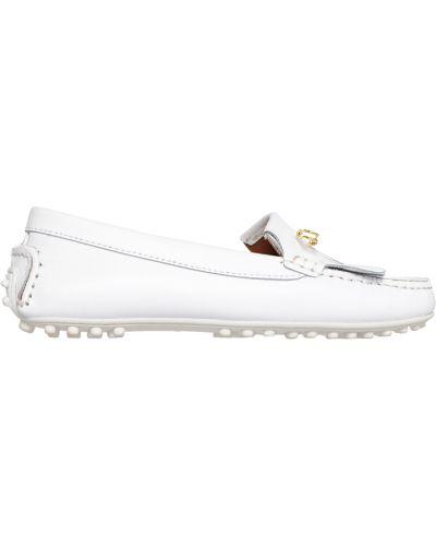 Мокасины кожаные белые Trussardi Jeans