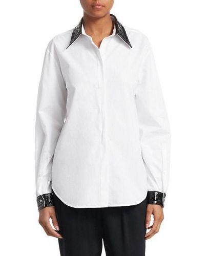Кожаная белая рубашка с длинными рукавами No. 21