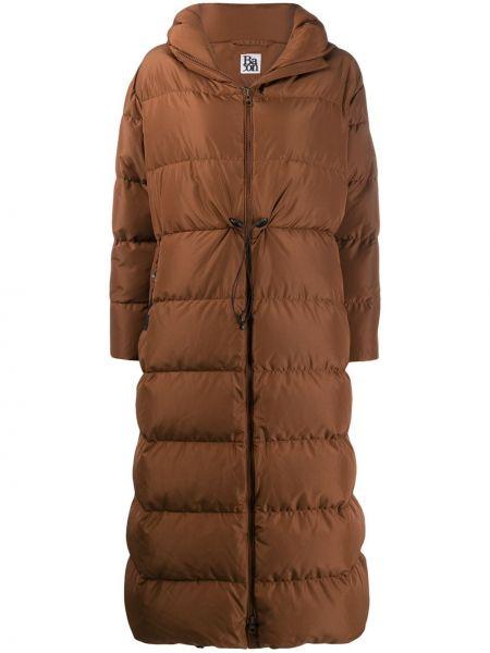 Пальто с капюшоном длинное био пух Bacon