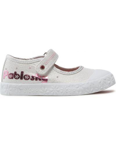 Туфли на липучках - белые Pablosky