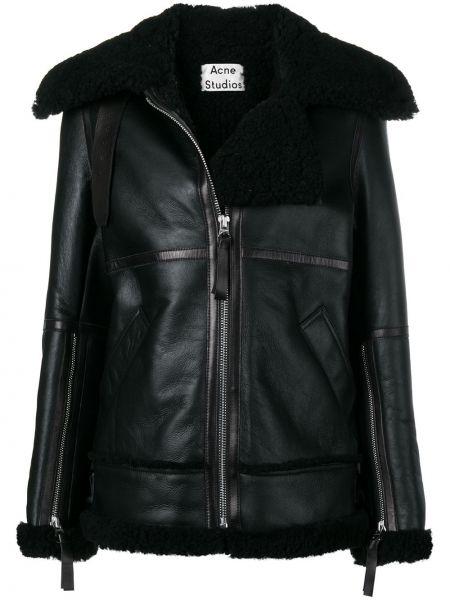Кожаная куртка черная на молнии Acne Studios
