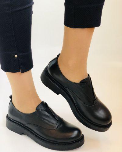 Кожаные туфли - черные Evromoda