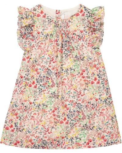 Ватное хлопковое белое платье Bonpoint