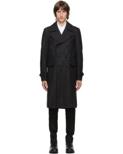 Wełniany długi płaszcz z kołnierzem z długimi rękawami prążkowany Belstaff