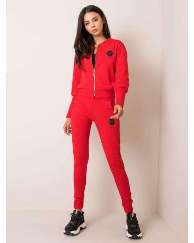 Czerwony garnitur ze spodniami bawełniany Fashionhunters
