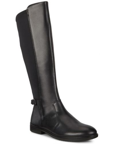 Черные кожаные модные сапоги Ecco