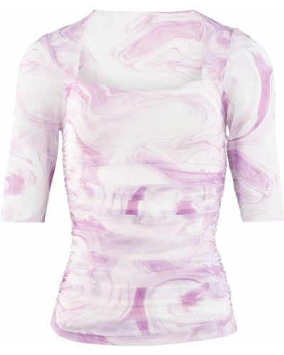Bluzka z nadrukiem z printem - różowa Ganni