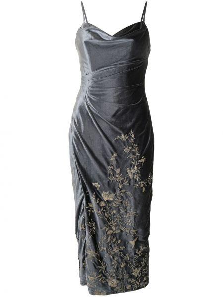 Бархатное платье миди - синее Marchesa Notte