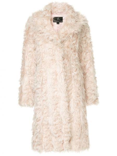 Акриловое розовое длинное пальто с капюшоном Unreal Fur