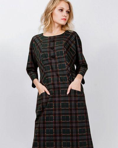 Платье миди осеннее зеленый мадам т