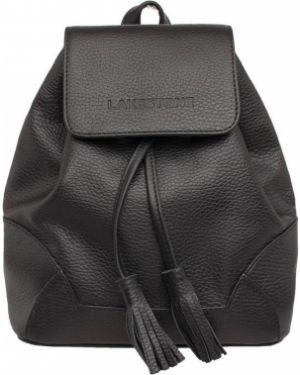 Кожаный рюкзак на молнии черный Lakestone