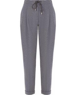 Акриловые серые укороченные брюки с воротником с карманами Capobianco