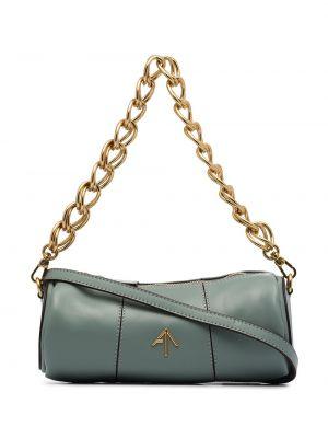 С ремешком синяя сумка на цепочке с декоративной отделкой из натуральной кожи Manu Atelier