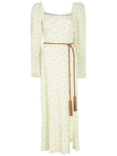 Зеленое платье макси квадратное с вырезом НК