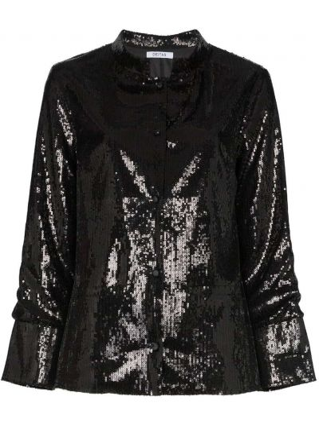 Черный пиджак с воротником на пуговицах Deitas