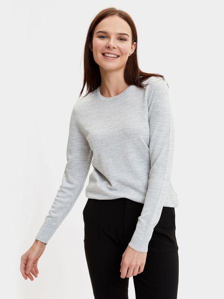 Серый свитер с вырезом круглый Defacto