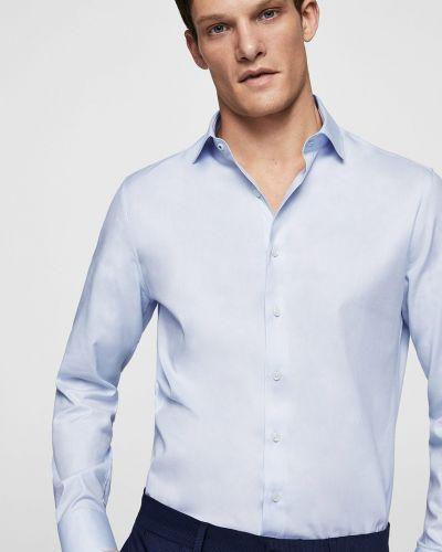 Синяя рубашка однотонная Mango Man