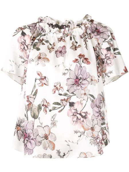 Шелковая блузка с коротким рукавом с круглым вырезом с короткими рукавами круглая Adam Lippes