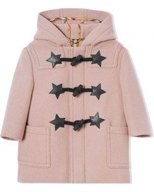 Klasyczny różowy płaszcz wełniany Burberry Kids