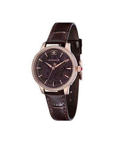 Часы на кожаном ремешке механические коричневый Earnshaw