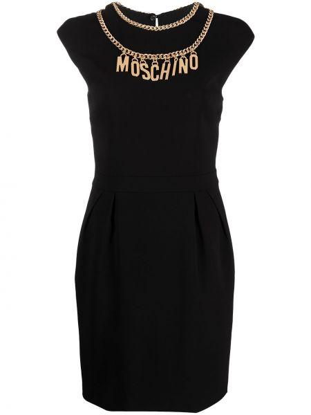 С рукавами черное платье мини с вырезом Moschino