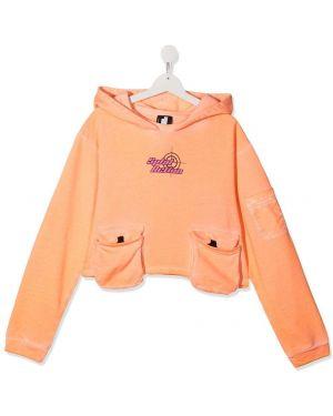 С рукавами хлопковый оранжевый топ с карманами Cinzia Araia Kids