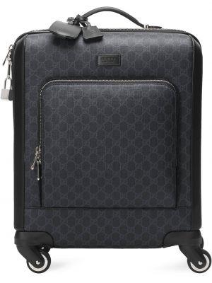 Коричневый кожаный чемодан с подкладкой Gucci