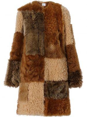Коричневое кожаное длинное пальто с карманами Burberry