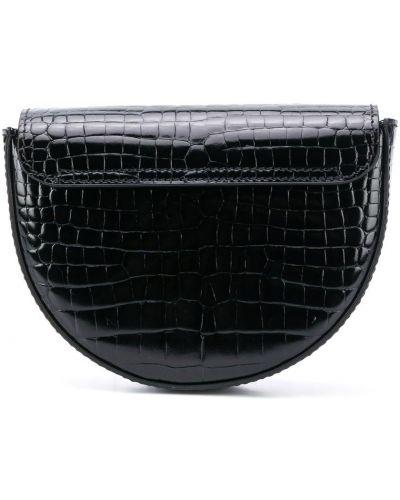 Черная кожаная сумка на плечо с тиснением Young Versace