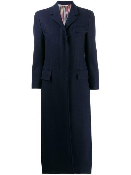 Синее шерстяное длинное пальто с капюшоном Thom Browne