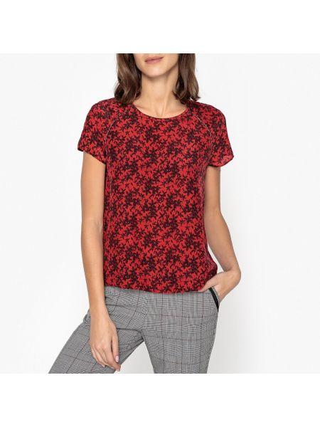 Красная прямая блузка с коротким рукавом с вырезом с рисунком Ikks