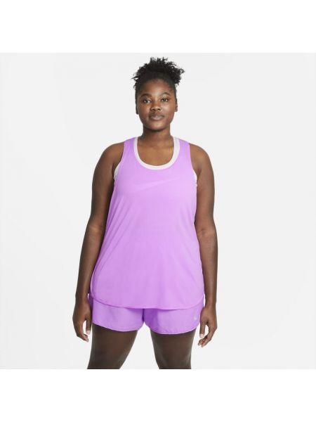 Fioletowy t-shirt bez rękawów do biegania Nike