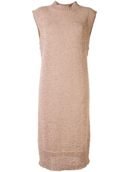 Нейлоновое вязаное платье миди без рукавов с высоким воротником Rodebjer