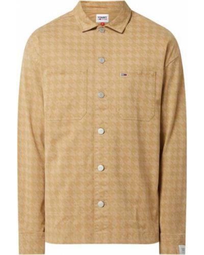 Beżowy bawełna kurtka jeansowa z kołnierzem Tommy Jeans