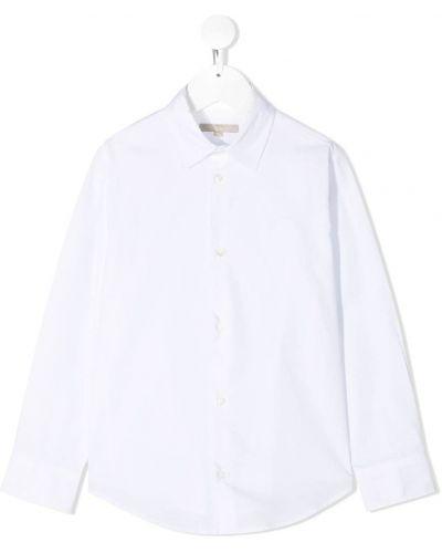 Хлопковая белая классическая рубашка с длинными рукавами Elie Saab Junior