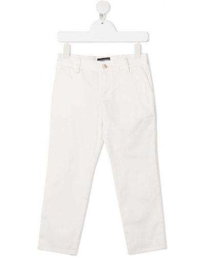 Прямые белые джинсы с карманами Emporio Armani Kids