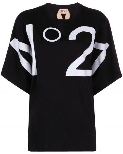 Прямая хлопковая черная футболка N21